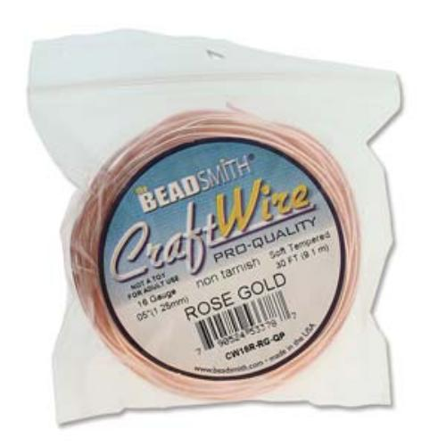 Beadsmith Jewellery Wire 14ga Rose Gold per 10ft Coil