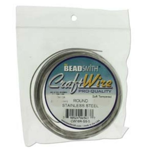Beadsmith Jewellery Wire 16ga Stainless Steel per 5yd Coil