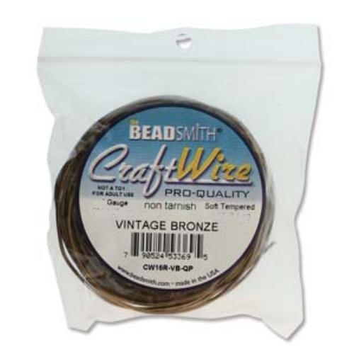 Beadsmith Jewellery Wire 16ga Vintage Bronze per 5yd Coil