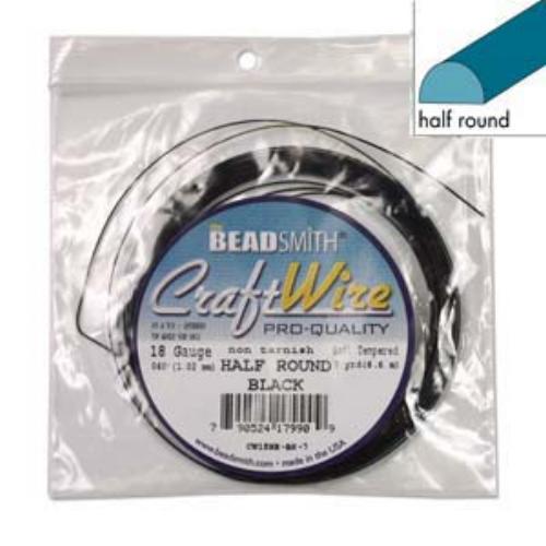 Beadsmith Half Round Wire 18ga Black per 7yd Coil