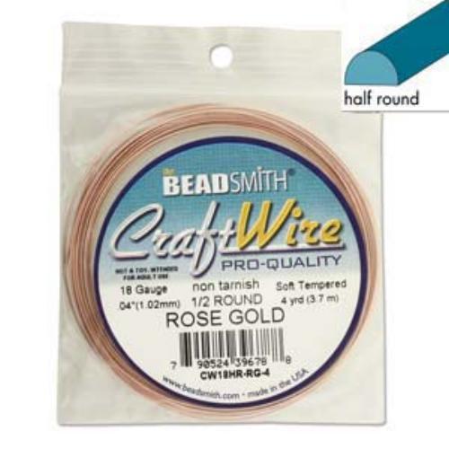 Beadsmith Half Round Wire 18ga Rose Gold per 4yd Coil