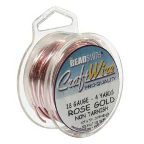 Beadsmith Jewellery Wire 18ga Rose Gold per 50ft Spool