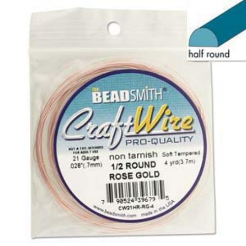 Beadsmith Half Round Wire 21ga Rose Gold per 4yd Coil