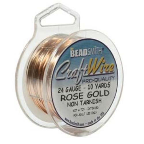 Beadsmith Jewellery Wire 24ga Rose Gold per 10yd Spool
