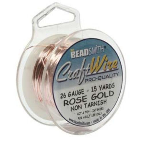 Beadsmith Jewellery Wire 26ga Rose Gold per 15yd Spool