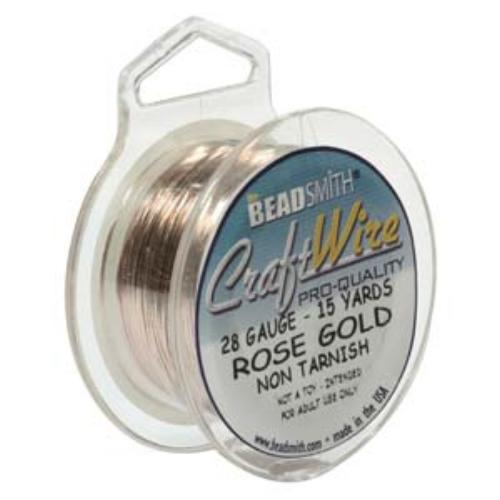 Beadsmith Jewellery Wire 28ga Rose Gold per 15yd Spool