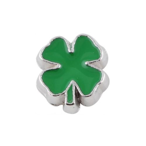Floating Living Locket Charms, Enamel Lucky 4 Leaf Clover