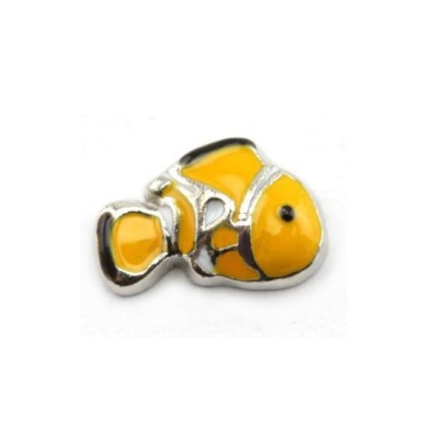 Floating Living Locket Charms, Enamel Yellow Clown Fish