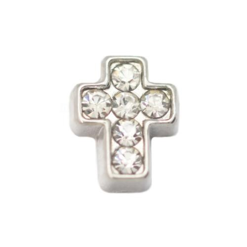 Floating Living Locket Charms, Crystal Rhinestone Silver Cross