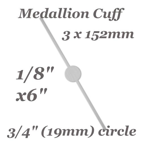 Aluminium Soft Strike Medallion Cuff Bangle Bracelet 3mm (1/8 inch) 12ga Metal Stamping Blank