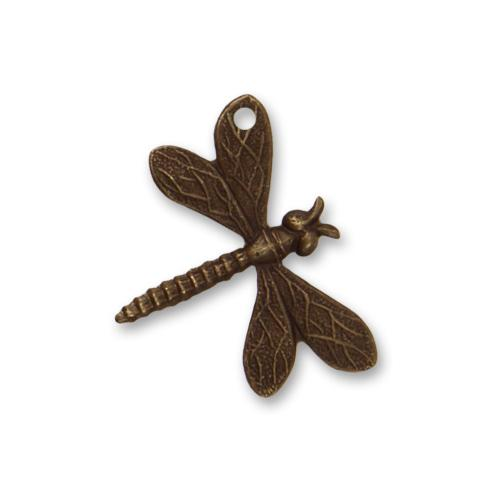 Vintaj Natural Brass 18x22mm Drifting Dragonfly (hole top left wing) Charm x1