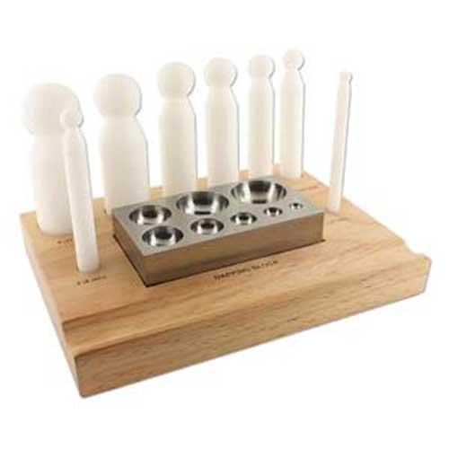 Steel Doming Shaping Block with 8 Nylon Dapping Punch Shapers, Wooden Stand Jewellery Tools