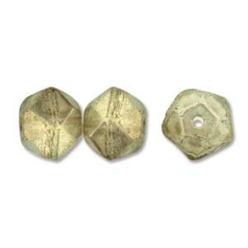 Czech Glass Antique English Cut Beads - 10mm Halo Champagne x1 Strand (15pc)