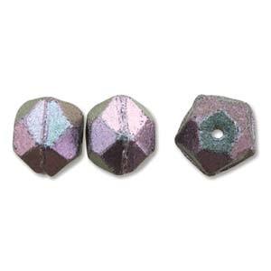 Czech Glass Antique English Cut Beads - 10mm Polychrome Deep Purple x1 Strand (15pc)