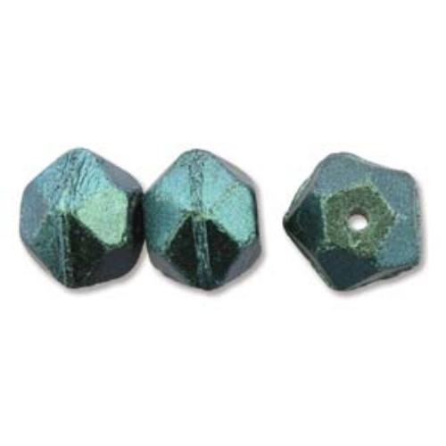 Czech Glass Antique English Cut Beads - 10mm Polychrome Viridian x1 Strand (15pc)
