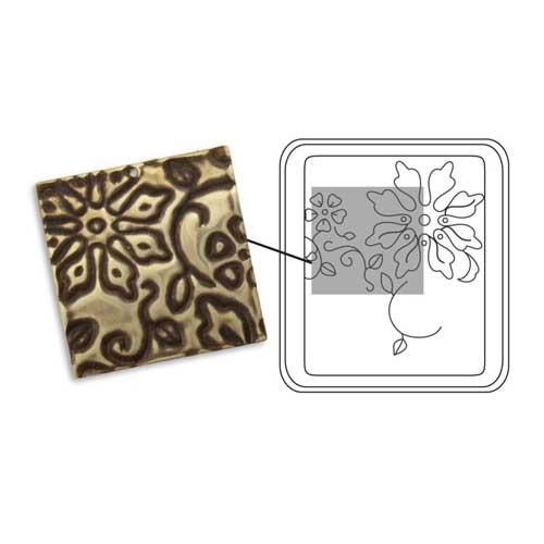Vintaj Natural Brass - Sizzix DecoEtch Die - Engraved Flowers