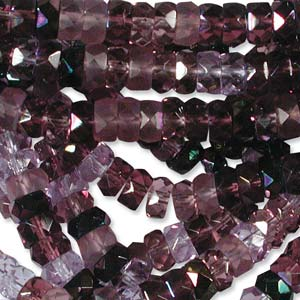 Czech Glass Fire Polished beads - 6/3mm Rondelle Amethyst/Lilac x60