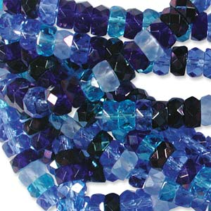 Czech Glass Fire Polished beads - 6/3mm Rondelle Blue Tones x60