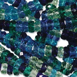 Czech Glass Fire Polished beads - 6/3mm Rondelle Lagoon x60