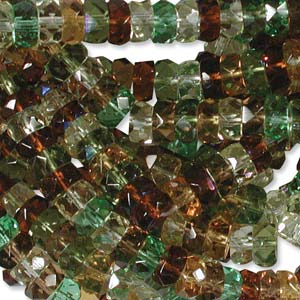 Czech Glass Fire Polished beads - 6/3mm Rondelle Earthtone x60