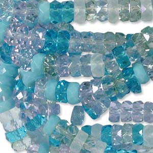 Czech Glass Fire Polished beads - 6/3mm Rondelle Serenity x60
