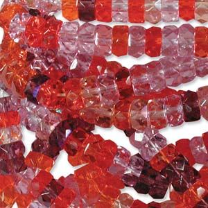 Czech Glass Fire Polished beads - 6/3mm Rondelle Melonberry x60