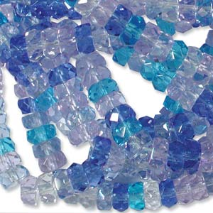 Czech Glass Fire Polished beads - 6/3mm Rondelle Caribbean Blue x60