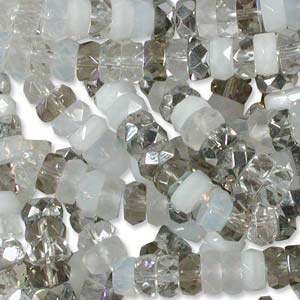 Czech Glass Fire Polished beads - 6/3mm Rondelle Apparition x60