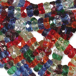 Czech Glass Fire Polished beads - 6/3mm Rondelle Rainbow AB x60