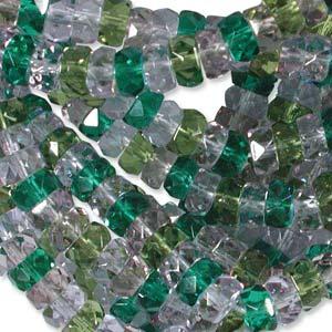 Czech Glass Fire Polished beads - 6/3mm Rondelle Lavender Garden x60