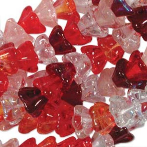 Czech Glass Flower Bell Beads 8/6mm Strawberry Fields x10pc