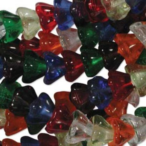 Czech Glass Flower Bell Beads 8/6mm Rainbow x10pc