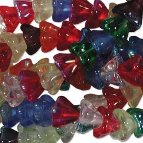 Czech Glass Flower Bell Beads 8/6mm Rainbow AB x10pc