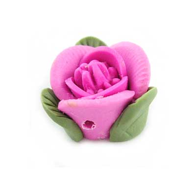 Handmade Sculpted Fimo Rose & Leaf Beads - Fuchsia x2