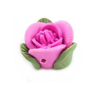 Handmade Sculpted Fimo Rose & Leaf Beads - Fuchsia x2