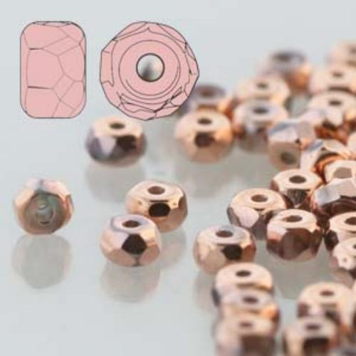 Czech Glass Fire Polished Micro Spacer Beads 2x3mm Full Capri x50pc