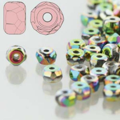 Czech Glass Fire Polished Micro Spacer Beads 2x3mm Full Vitrail x50pc