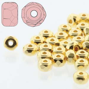 Czech Glass Fire Polished Micro Spacer Beads 2x3mm 24ct Gold Plate x50pc