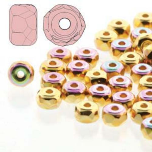 Czech Glass Fire Polished Micro Spacer Beads 2x3mm 24ct Gold Plate AB x50pc