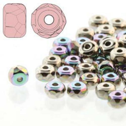 Czech Glass Fire Polished Micro Spacer Beads 2x3mm Nickel Plate AB x50pc