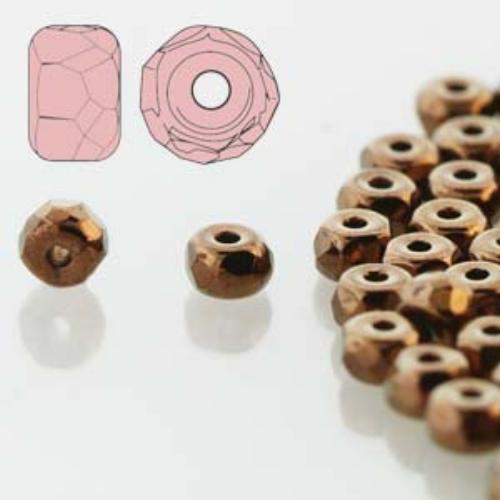 Czech Glass Fire Polished Micro Spacer Beads 2x3mm Bronze x50pc