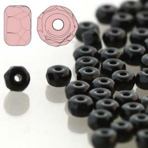 Czech Glass Fire Polished Micro Spacer Beads 2x3mm Jet Black x50pc