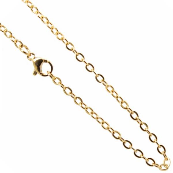 Stainless Steel **mm Cable Chain Necklace 20 inch (51cm) Gold x1