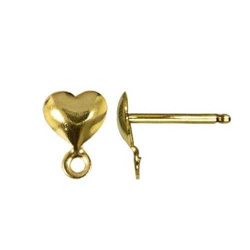 14kt Gold Heart Post 7x5mm Earring with Loop Findings x1pr