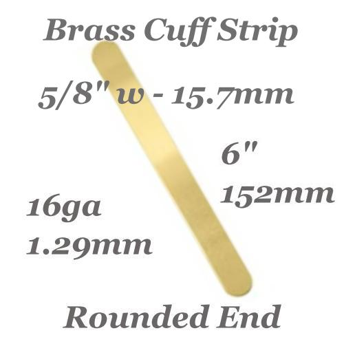 Brass Rounded End Cuff Bangle Bracelet 16ga Stamping Blank 5/8, 15.8x152mm x1 (IA)
