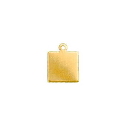 Brass 9.6mm Square Tag 24ga Stamping Blank x5