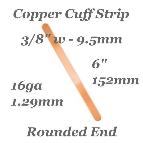 Copper Rounded End Cuff Bangle Bracelet 16ga Stamping Blank 3/8, 9.5x152mm x1 (IA)