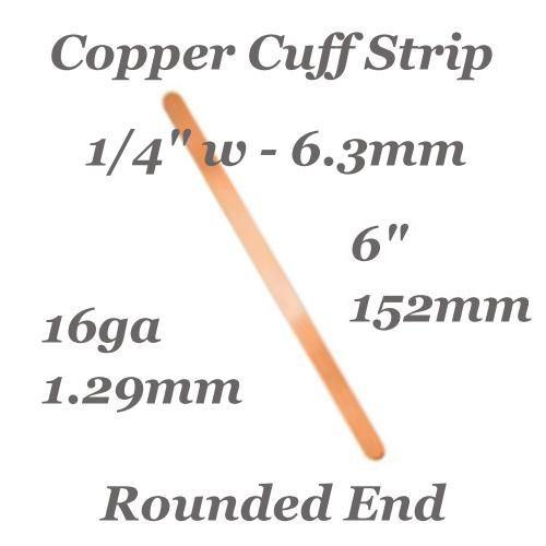 Copper Rounded End Cuff Bangle Bracelet 16ga Stamping Blank 1/4, 6x152mm x1 (IA)