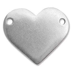Pewter Soft Strike Heart Connector 25x21mm 1 x 7/8 inch 16ga Stamping Blank x1