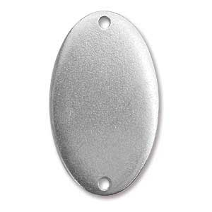 """Pewter Soft Strike Oval Connector 38x22mm 1 1/2"""" x 7/8"""" 16g Stamping Blank x1"""